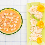 Melon smoothie with banana and oats Stock Images