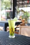 Melon soda with lime. In close up stock image