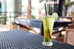 Melon soda with lime. In close up royalty free stock photo