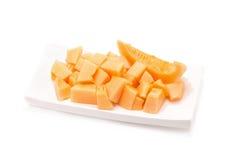 Melon som isoleras på vitbakgrund Arkivbild