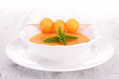 Melon soup, gazpacho Stock Photos