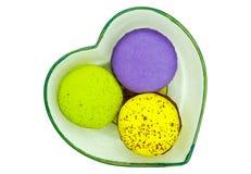 melon, thé vert, et macarons aromatisés bleuberry Photos stock