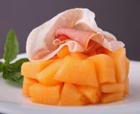Melon un jambon corrigé photo stock