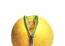 Melon Unzipped close up. Inner Fruity unzipped Concept for Health, Diet, and Beauty stock images
