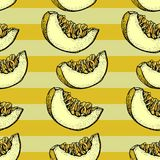 Melon vector seamless pattern. Hand drawn objects with sliced piece of melon on a striped background. Summer Fruit doodle style. Illustration. Detailed vector illustration