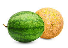 Melon and watermelon isolated Royalty Free Stock Images