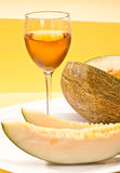 Melon and wine Royalty Free Stock Photography
