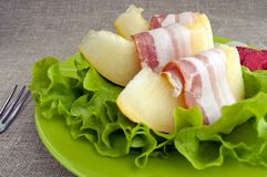Melon With Parma Ham Stock Photography