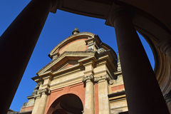 Meloncello arch in Bologna, Italy. Beautiful view of old town architecture, Meloncello arch in Bologna, northern Italy. Town`s gate Stock Photo