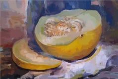 melone Öl auf Segeltuchbeschaffenheit Abstrakter Hintergrund von verschiedenen Farben Moderne Kunst Stockfotos