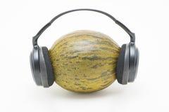 Melone con le cuffie Fotografia Stock Libera da Diritti