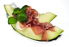 Melone de la estafa de Prosciutto Foto de archivo