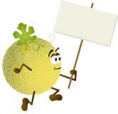 Melone del cantalupo che tiene insegna in bianco Fotografia Stock
