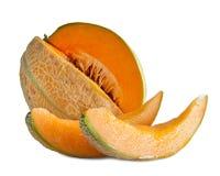 Melone del cantalupo isolato su fondo bianco Fotografia Stock