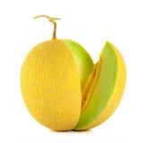 Melone del cantalupo isolato sui precedenti bianchi Fotografia Stock
