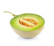 Melone di melata fresco su bianco Fotografia Stock Libera da Diritti