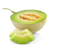 Melone di melata fresco su bianco Fotografie Stock Libere da Diritti