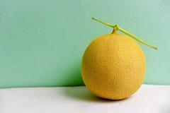 Melone di melata isolato sul fondo della menta Fotografia Stock