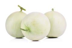 Melone di melata su priorità bassa bianca Immagini Stock Libere da Diritti