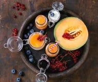 Melone e frullato dei mirtilli fotografia stock libera da diritti