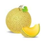 Melone giallo maturo e un pezzo appena Fotografie Stock Libere da Diritti