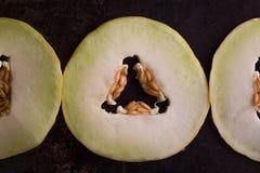 Melone giallo sui precedenti rustici scuri del metallo Fotografia Stock