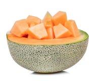 Melone isolato sui precedenti bianchi Fotografia Stock