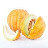 Melone maturo affettato isolato Fotografie Stock
