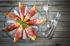 Melone Prosciutto-Mozzarella Stockfoto