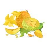 Melone und Blumen in der Origamiart Stockfoto
