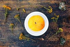Melone und getrockneter Kamillenabschluß herauf Ansicht über dunklen Hintergrund Lizenzfreie Stockbilder