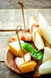 Melone und Schinken Stockbild