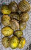 Melonen bereiten vor, um bereites zu verkaufen und zu essen zu verkaufen und zu essen stockbild