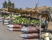 Melonen und Kürbisse auf einem Straßenmarkt Lizenzfreie Stockfotos