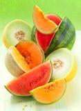 Melonen und Wassermelone stockfoto