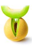 Melonhoneydew och en skiva Royaltyfri Fotografi