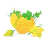 Meloni e fiori arancio nello stile di origami illustrazione di stock