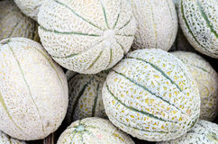 Meloni maturi su uno scrittorio del mercato immagine stock