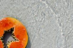 Melonowa plasterek, plasterek, cięcie, zwrotnik, owoc, piasek woda, kwadrat Zdjęcie Stock