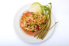 melonowiec sałatka korzenny Tajlandzki jedzenie odizolowywa na białym tle Obraz Stock