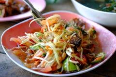 Melonowiec sałatka, Somtum Tajlandzki jedzenie Zdjęcie Stock
