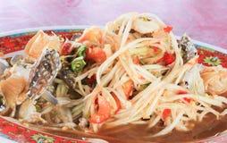 Melonowiec sałatka - Tradycyjny Tajlandzki jedzenie (Som Tama) Obrazy Stock