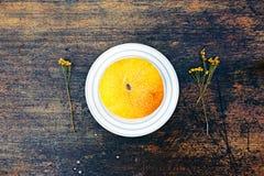 Melonowy i wysuszony chamomile zakończenie w górę widoku nad ciemnym tłem Obraz Royalty Free