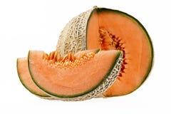 Melonowy kantalup odizolowywający na białym tle obrazy royalty free