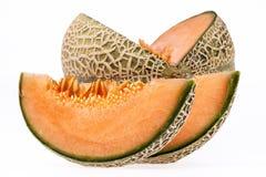 Melonowy kantalup odizolowywający na białym tle zdjęcie stock