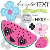 Melonowy owoc i kwiatu wektor Obraz Royalty Free