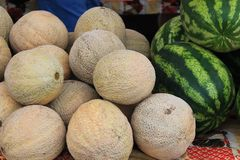 Melons à vendre à un marché du nord-ouest d'agriculteurs de Pacifique Image stock