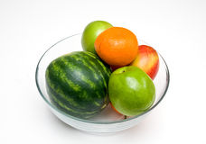 Melons Apples and Oranges. This is a bowl of apples,oranges and watermelon Stock Photos