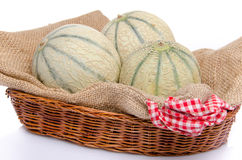 Melons in a basket Stock Photos