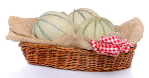 Melons in a basket Stock Photo